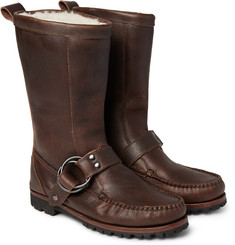 Quoddy Meddybemps Shearling-Lined Pebble-Grain Leather Boots