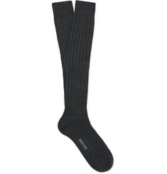 Bresciani Knee-Length Ribbed Cashmere Socks