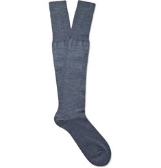 Bresciani Knee-Length Mélange Wool-Blend Socks