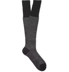 Bresciani Knee-Length Houndstooth Wool-Blend Socks