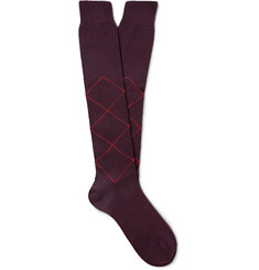 Bresciani Knee-Length Argyle-Patterned Wool-Blend Socks