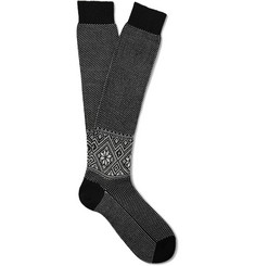 Bresciani Knee-Length Fair Isle Wool-Blend Socks