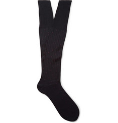 Bresciani Knee-Length Pin-Dot Ribbed Cotton Socks