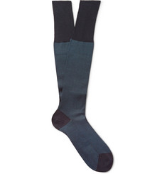 Bresciani Knee-Length Herringbone Cotton Socks