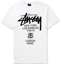 Stüssy World Tour Printed Cotton-Jersey T-Shirt