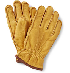 Hestra Fleece-Lined Grained-Leather Gloves