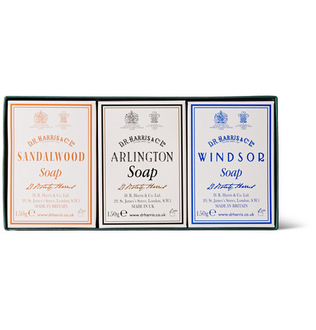 D R HARRIS THREE-PACK SCENTED SOAPS