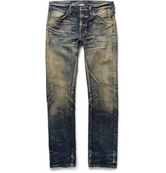 Fabric-Brand & Co - Slim-Fit Selvedge Washed-Denim Jeans