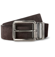 Tod's 3cm Brown Reversible Suede and Leather Belt