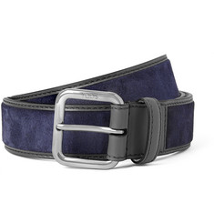 Tod's - 3cm Navy Leather-Trimmed Suede Belt