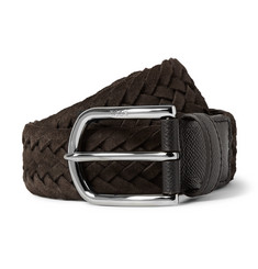 Tod's 3.5cm Brown Woven Suede and Cross-Grain Leather Belt