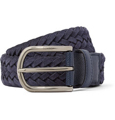 Tod's 3.5cm Navy Woven Suede and Cross-Grain Leather Belt