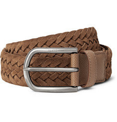 Tod's 3.5cm Brown Woven Suede and Textured-Leather Belt
