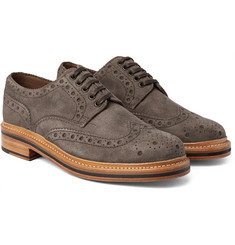 Grenson Archie Triple-Welt Suede Wingtip Brogues