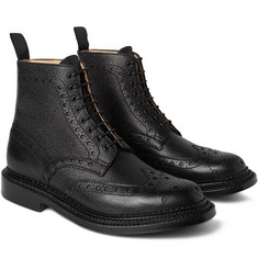 Grenson Fred Triple-Welt Pebble-Grain Leather Brogue Boots
