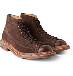 Grenson Gus Triple-Welted Suede and Leather Boots