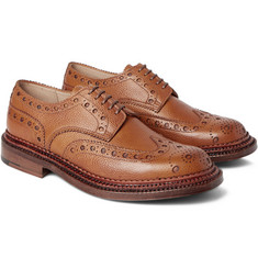 Grenson Archie Triple-Welt Pebble-Grain Leather Wingtip Brogues