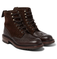 Cheaney Irvine Shearling-Lined Leather and Suede Boots
