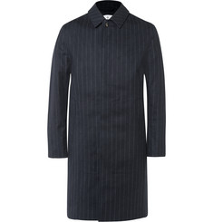 Kingsman + Mackintosh Dunoon Pinstriped Coated Wool Raincoat