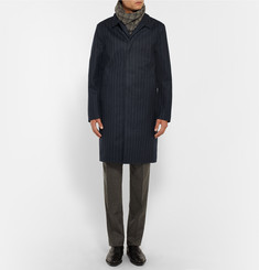 Kingsman - + Mackintosh Dunoon Pinstriped Coated Wool Raincoat