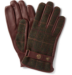 Dents Edinburgh Checked Flannel and Leather Gloves
