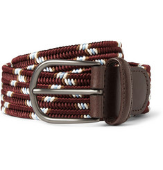 Anderson's 3.5cm Leather-Trimmed Elasticated Woven-Cotton Belt