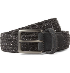Anderson's 3.5cm Grey Suede-Trimmed Elasticated Woven Wool Belt