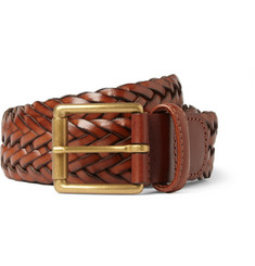 Anderson's Brown 3.5cm Woven Leather Belt