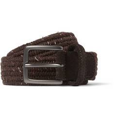 Anderson's 3.5cm Brown Suede-Trimmed Wool Belt