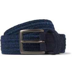 Anderson's - 3.5cm Blue Suede-Trimmed Wool Belt