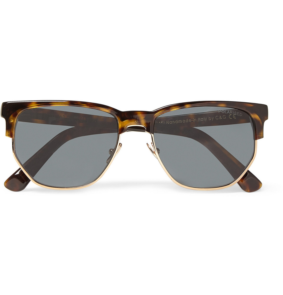 Tortoiseshell and Metal Sunglasses Brown