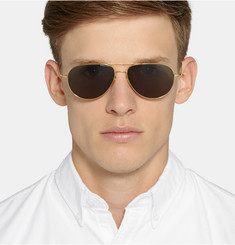 Cutler and Gross Gold-Plated Aviator Sunglasses