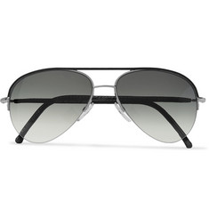 Cutler and Gross - Aviator-Style Leather-Trimmed Acetate Sunglasses