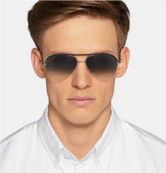 Cutler and Gross Leather-Trimmed Acetate Aviators