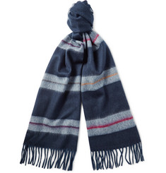 Begg & Co Moret Striped Wool and Cashmere-Blend Scarf