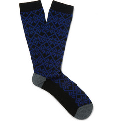 Anonymous Ism Snowflake-Patterned Wool-Blend Jacquard Socks