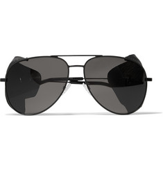 Saint Laurent Aviator-Style Leather-Trimmed Acetate Sunglasses