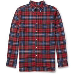 Beams Plus Slim-Fit Button-Down Collar Checked Brushed-Twill Shirt
