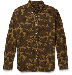 Beams Plus Slim-Fit Camouflage-Print Cotton-Flannel Shirt