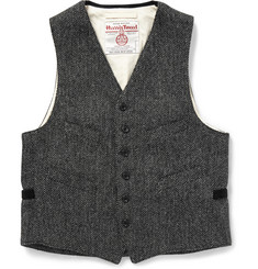 Beams Plus Grey Herringbone Harris Tweed Waistcoat