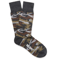 Beams Plus Camouflage Cotton-Blend Socks