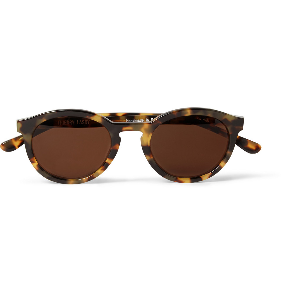 Flaky Round Frame Tortoiseshell Acetate Sunglasses Brown
