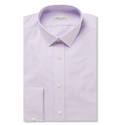 Charvet Purple Slim-Fit Micro-Checked Cotton Shirt