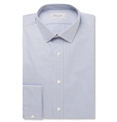 Charvet Blue Slim-Fit Gingham Checked Cotton Shirt