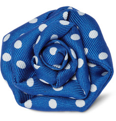 Charvet - Polka-Dot Silk-Faille Flower Lapel Pin