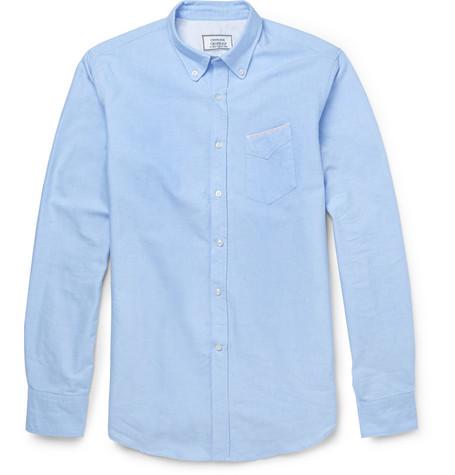Officine generale slim fit cotton oxford shirt for Mens blue oxford shirt