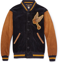 RRL Wakefield Corduroy and Leather Varsity Jacket