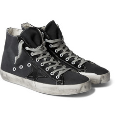 Golden Goose Deluxe Brand Francy Distressed Canvas and Suede Sneakers