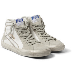 Golden Goose Deluxe Brand Distressed Leather and Suede High-Top Sneakers