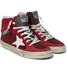 Golden Goose Deluxe Brand Distressed Leather, Suede and Mesh High-Top Sneakers
